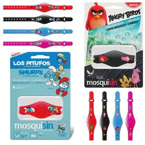 PULSERA INFANTIL (PITUFOS Y ANGRY BIRDS) SLAP MOSQUISIN