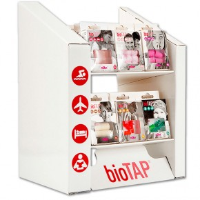 EXPOSITOR TAPONES PROTECTORES OÍDOS BIOTAP, KIT 48cajas