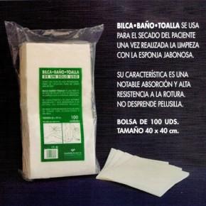 TOALLAS BAÑO CELULOSA BILCA, 100uds. Desechables 40X40cm. CN.167867.6