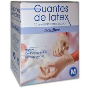 GUANTES LÁTEX AMBIDIESTRO MEDI-FLOWER TALLA M, 10uds.