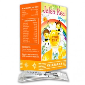 JALEA REAL INFANTIL VALEFARMA, 12 Sticks de 10ml.