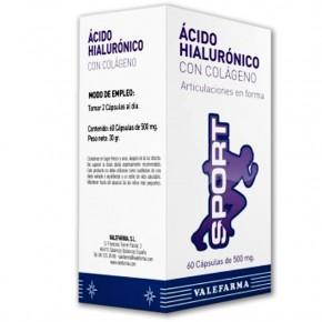 ÁC. HIALURÓNICO + COLÁGENO SPORT VALEFARMA, 60 Cáps. 500mg.