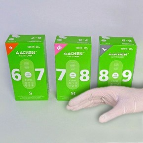 GUANTES LATEX CON POLVO AACHEN, T.L Palma unos 105mm. 100uds.