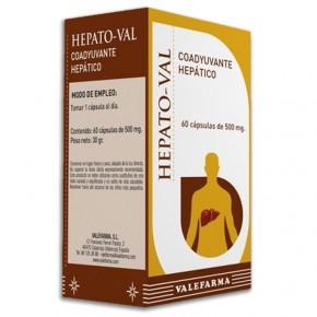 HEPATO-VAL COADYUVANTE HEPÁTICO VALEFARMA, 60 Cápsulas 500mg.