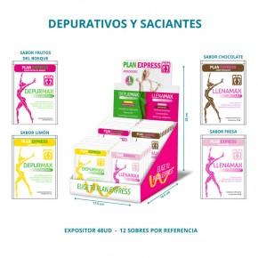 PLANEXPRESS, EXPOSITOR CON 48 SOBRES DEPURATIVOS Y SACIANTES