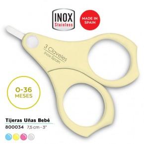 TIJERAS UÑAS BEBÉ ACERO INOX. 7,5cm. 4COLOR. 3CLAV.