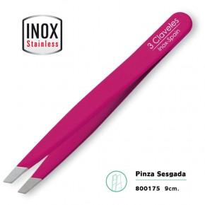 PINZA SESGADA ACERO INOX. FUCSIA 9cm.3CLAVELES