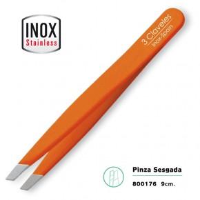 PINZA SESGADA ACERO INOX. NARANJA 9cm.3CLAVELES