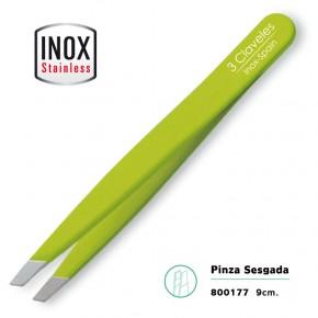 PINZA SESGADA ACERO INOX. VERDE 9cm. 3CLAVELES