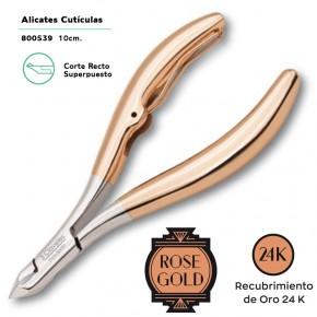 ALICATE CUTÍCULA RECTO 10cm. ROSE GOLD 24K.3CLAV.